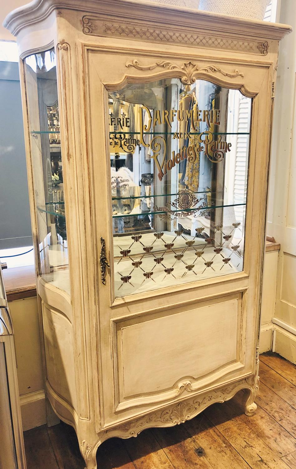 French painted vitrine