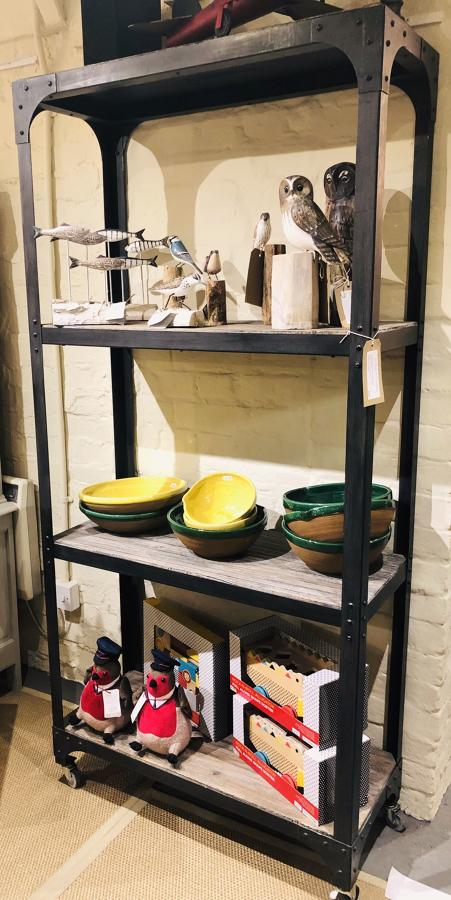 Industrial metal shelves
