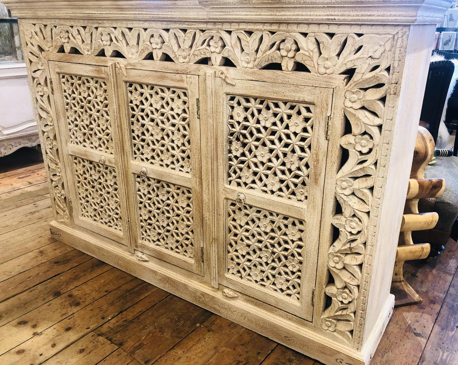 Carved painted sideboard