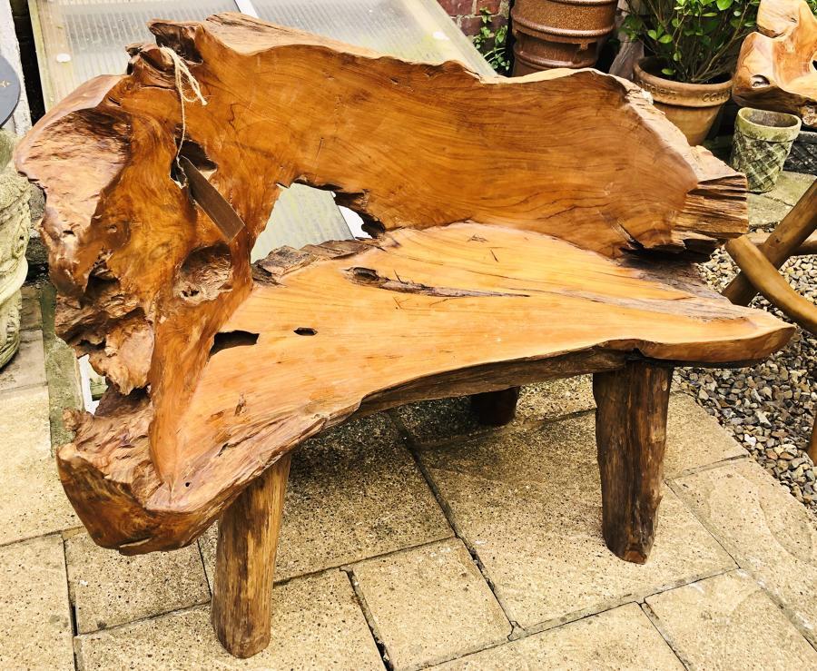 Teak tree garden bench