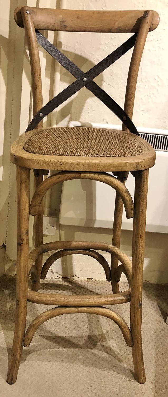 Oak cross back bar stool