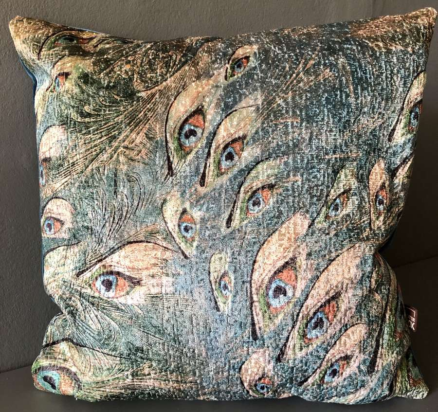 Peacock feather cushion