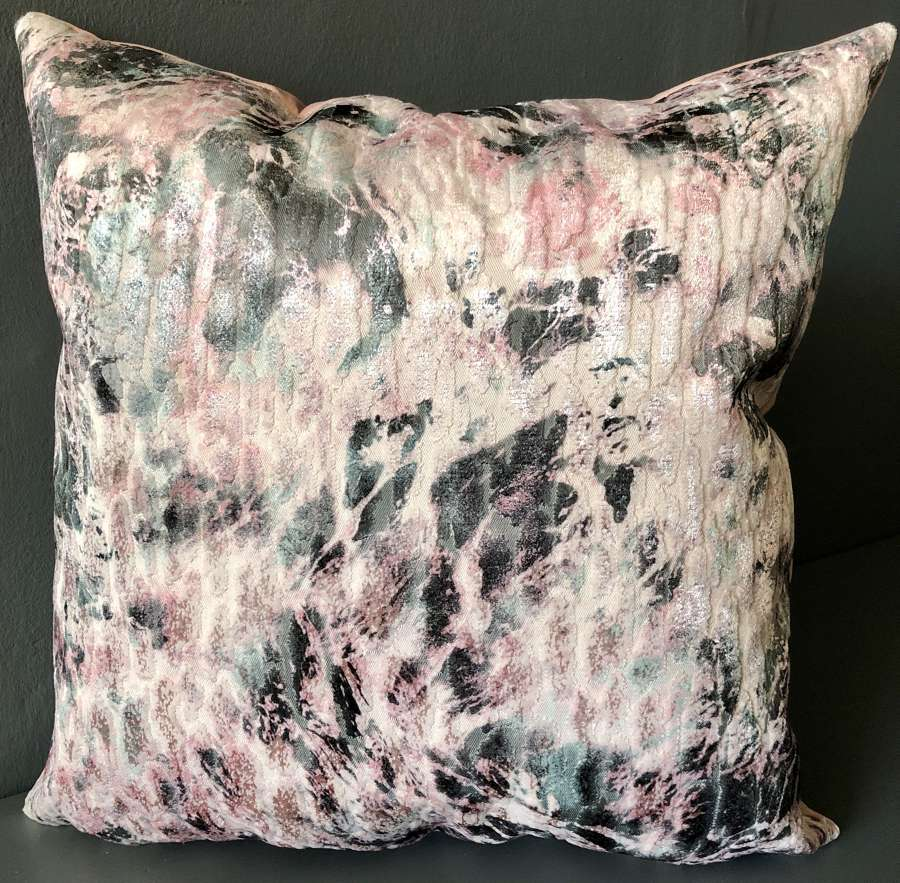 Pink and green velvet crush cushion