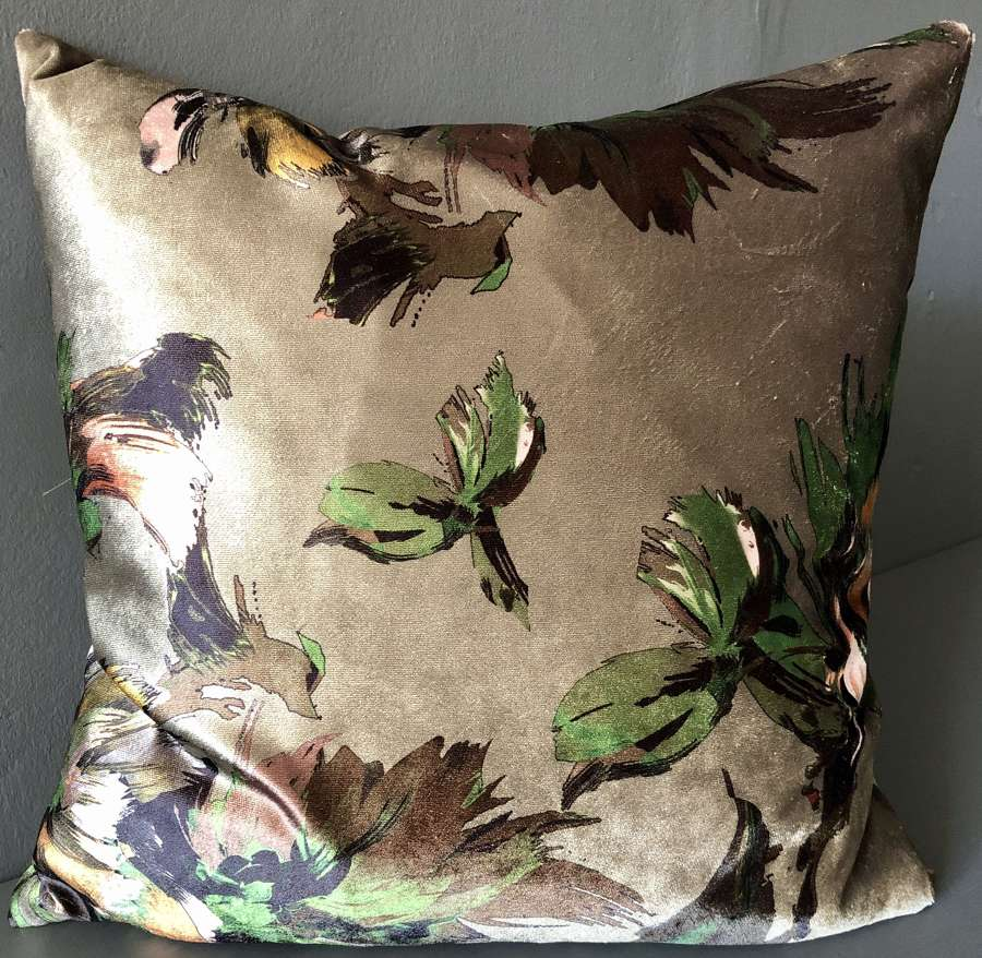 Green and gold amazon leaf cushion