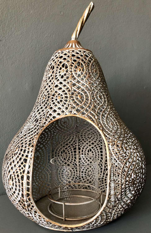Metal pear lantern