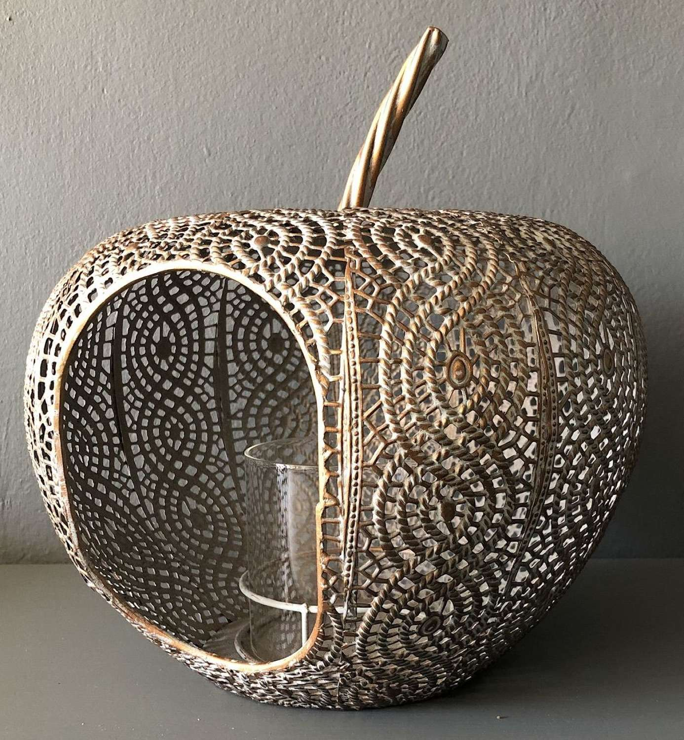 Metal apple lantern