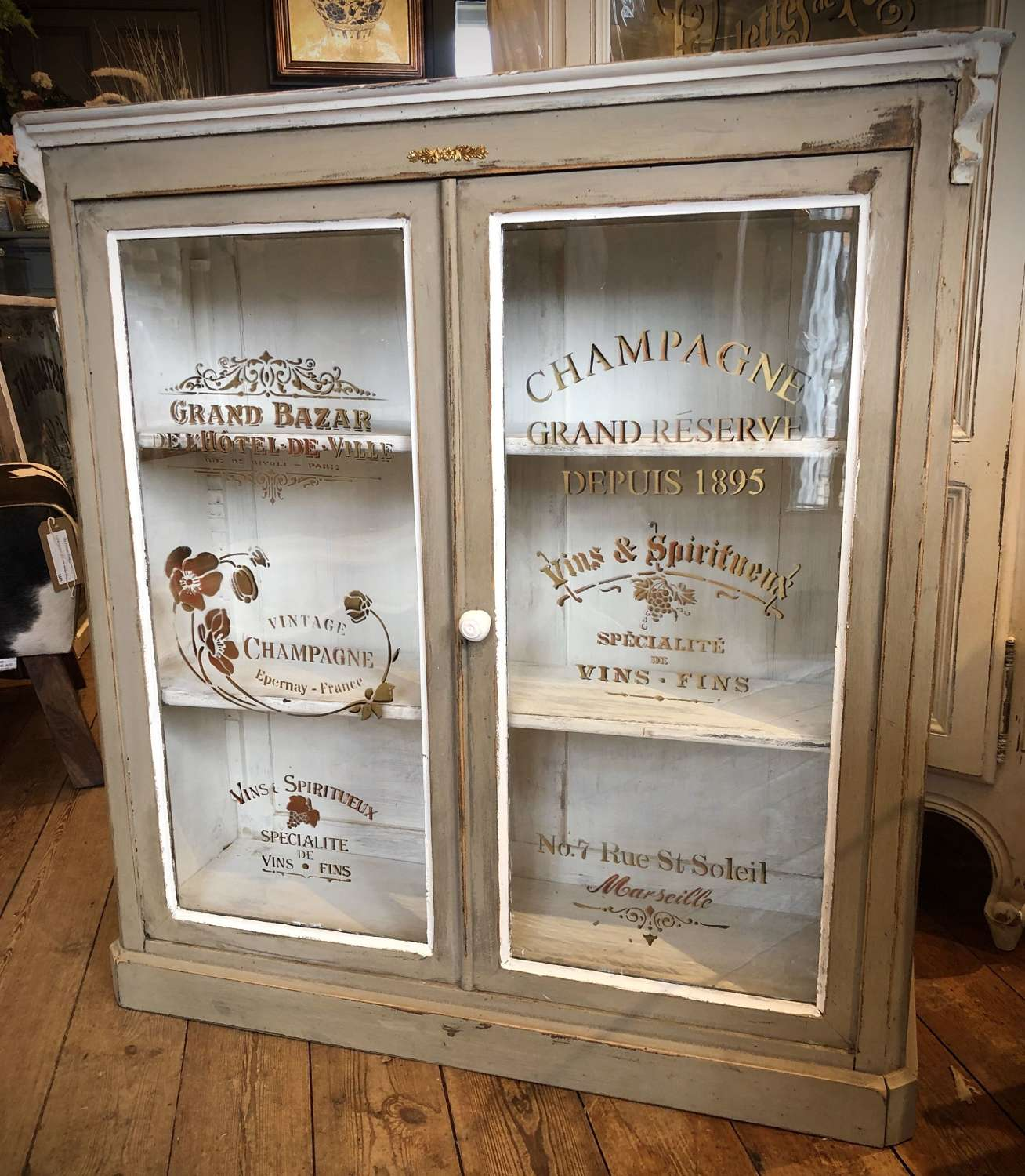 French stencilled cabinet