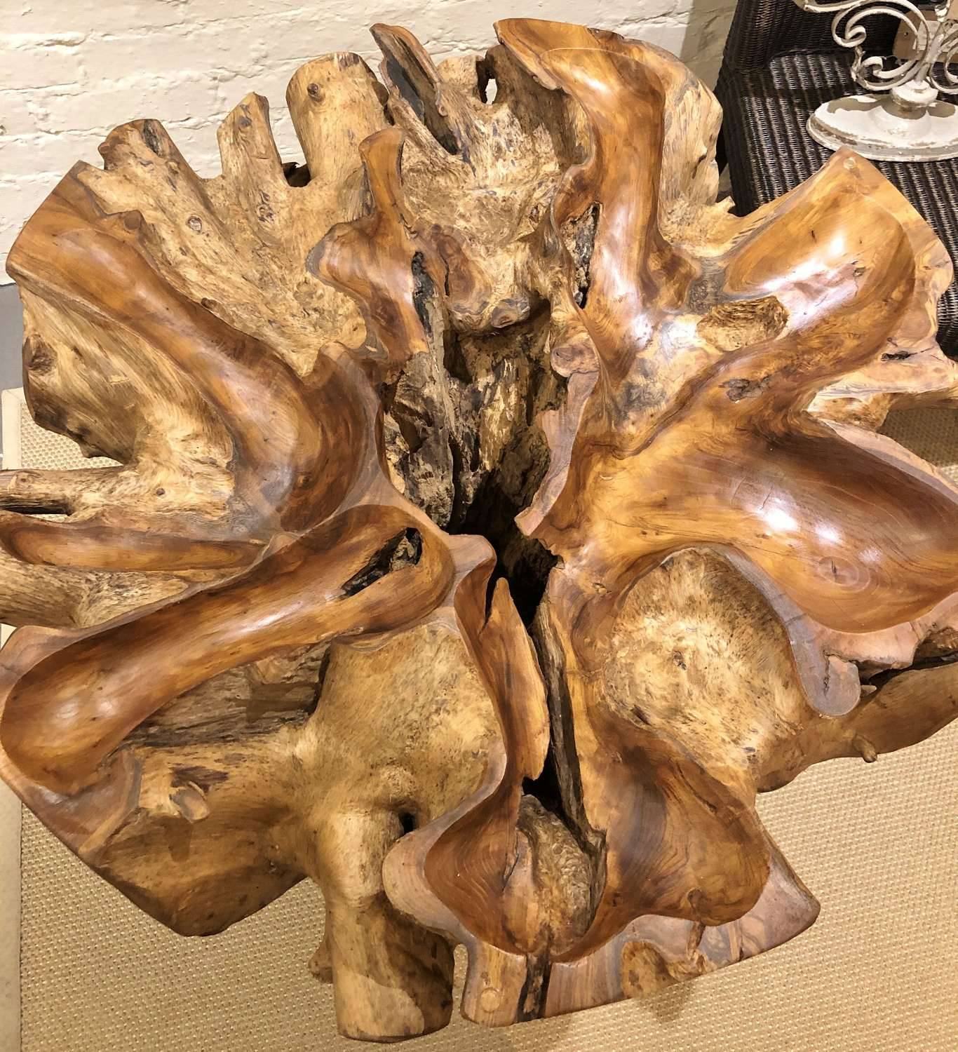 Teak root dining table