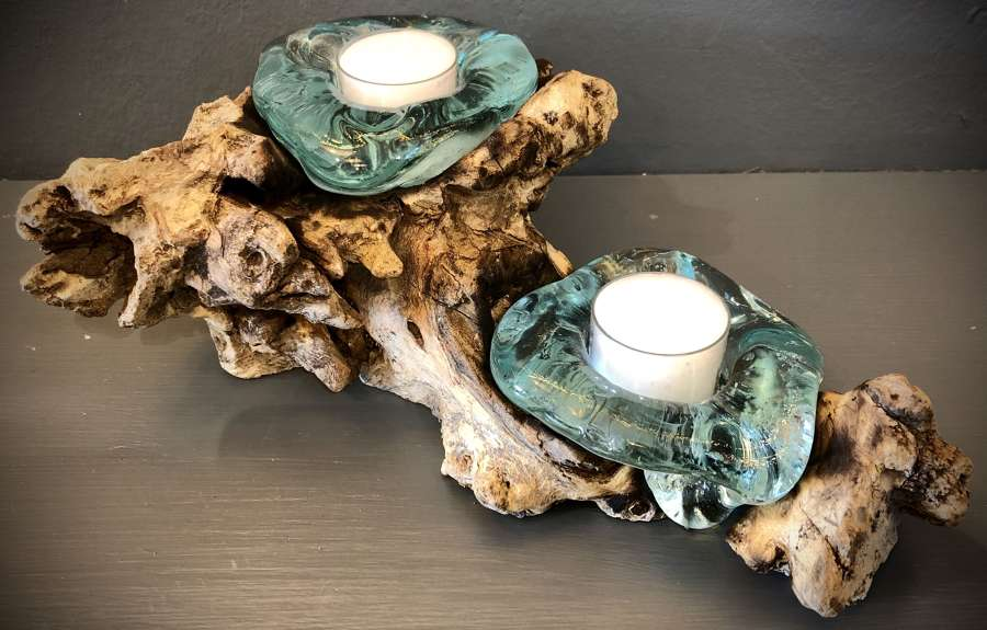 Melted glass tea light holder