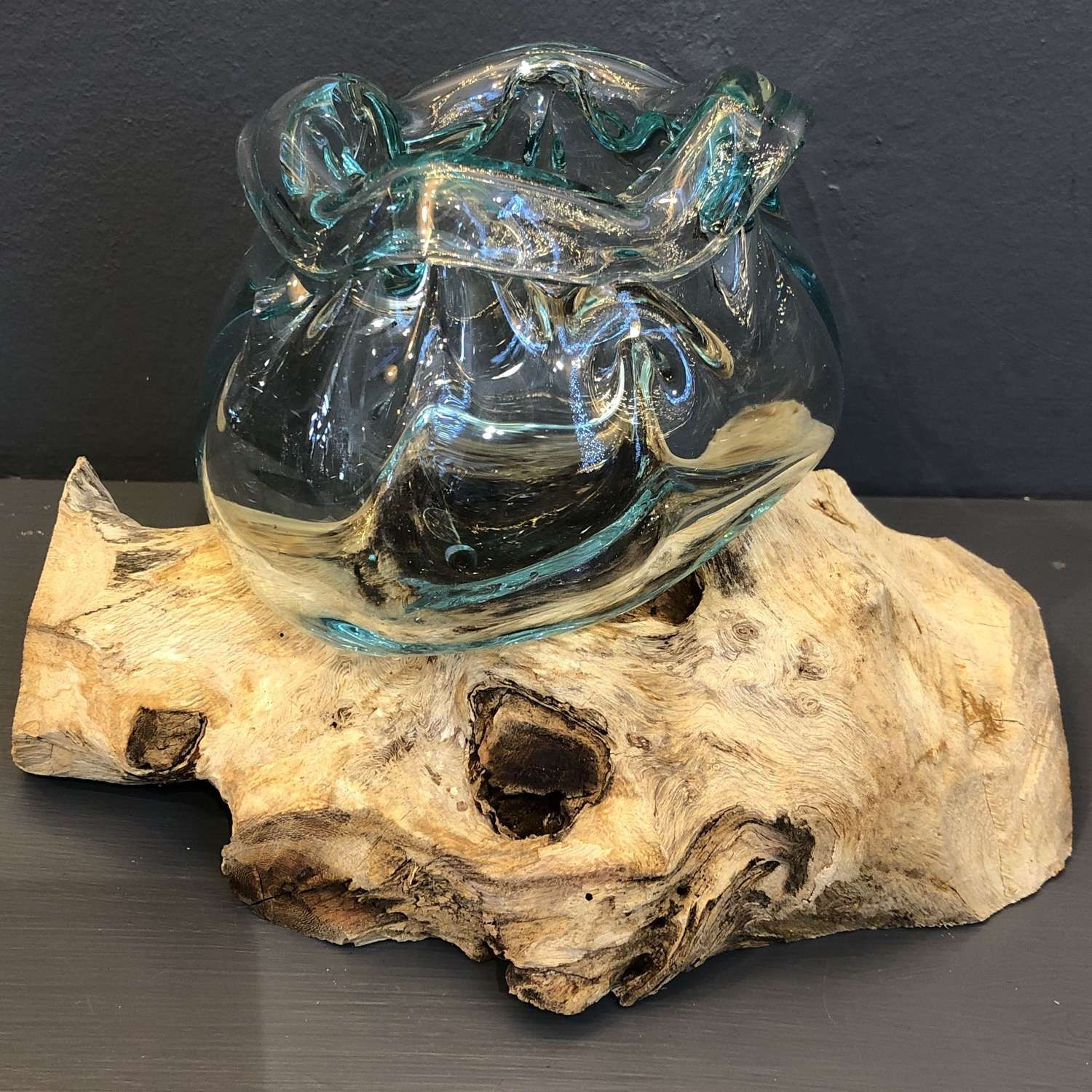 Bali glass bowl and wood sculpture