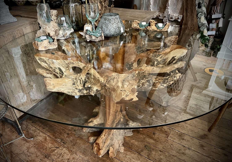 Teak root dining table